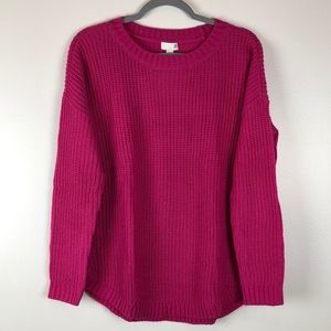 Kohl's Crew Neck Curved Hem Pullover Sweater